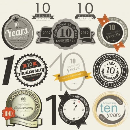 10 years anniversary signs and cards Stock Vector - 18464258