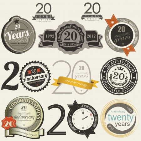 20 years anniversary signs and cards Illustration