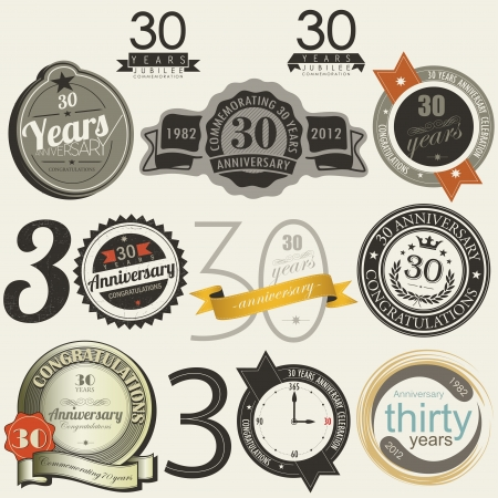 30 years anniversary signs and cards Illustration
