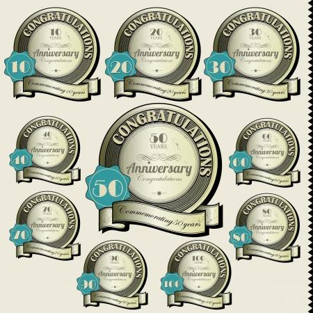 90 years: Segni anniversario e Vector carte di progettazione Giubileo di design