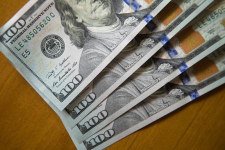 one hundred dollar bill: one hundred US dollars notes. Stock Photo