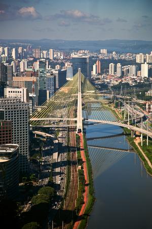 marginal: Ponte Estaiada - São Paulo - Brazil - Bridge in major financial and business center in the city of São Paulo.