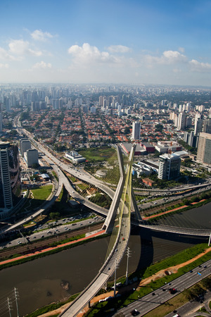 marginal: Ponte Estaiada - São Paulo - Brazil - Bridge in major financial and business center in the city of São Paulo.
