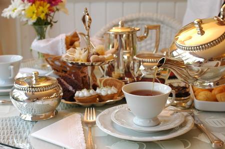 cup of tea: Tipico t� inglese Pomeriggio. Archivio Fotografico