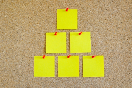 Cork board with multiple yellow post-it Stock Photo - 17580498