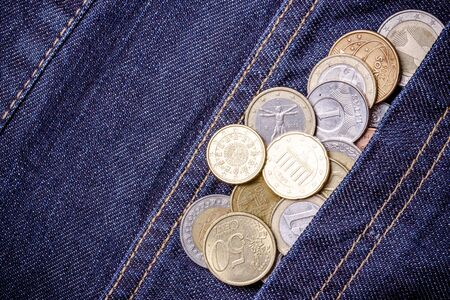Metal coins in pocket. Stock Photo