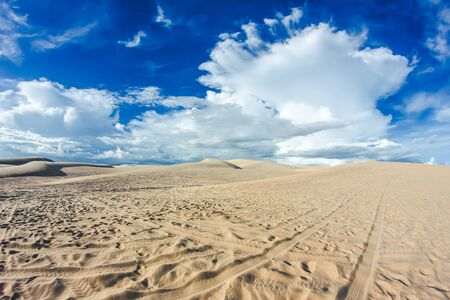 ne: White Sand Dunes in Mui Ne, Vietnam. Stock Photo