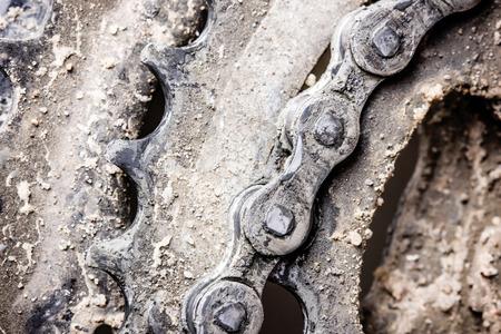 muddy: Dirty muddy grunge metal bike gears.