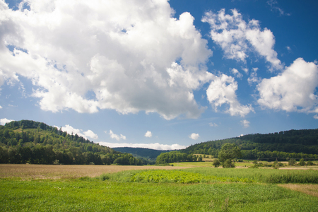 Idyllic landscape of summer in Poland. Blue cloudy sky, green grass and hills.