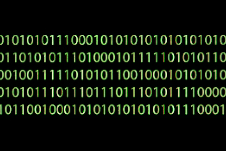 Green binary code on computer screen texture background.