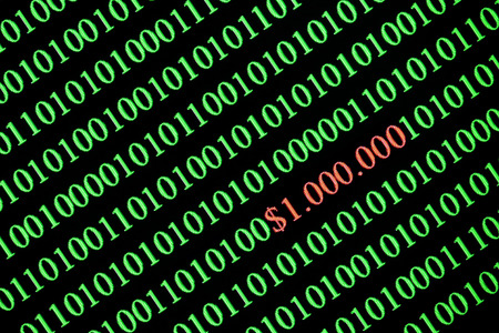 Numbers on computer screen. Binary code. Closeup of with visible pixels. Imagens