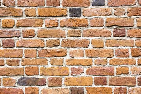 Brown brick wall pattern. Grunge uneven blocks background.