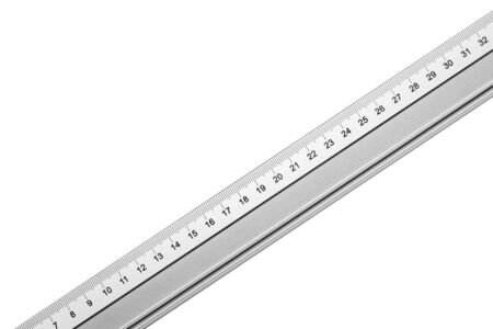 Gray metal ruler isolated on white. Empty copy space measurement tool background.