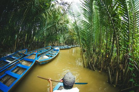 Mekong river wooden boat ride. Exotic palm trees in Vietnam landscape.