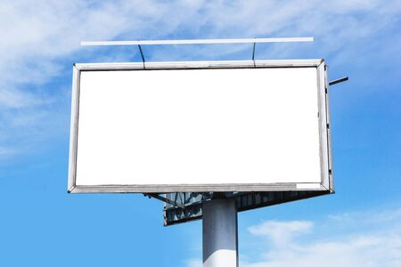 Blank billboard background. Cloudy blue sky advertisment texture. Empty copy space poster signpost panel. Street banner by the road.