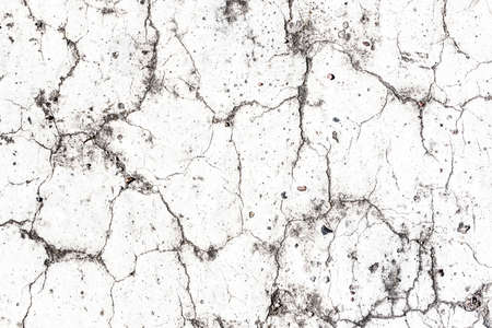 White paint asphalt cracks texture. Scratched lines background. White and black distressed grunge concrete wall pattern for graphic design. Banque d'images