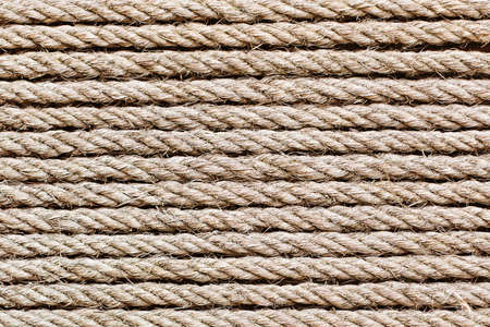 Linen rope background. Yarn stripe texture. Strong fiber lines.