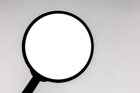 Magnifying glass isolated. Simple searching symbol background. Empty copy space optical device object. Discovery design.