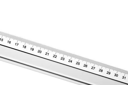 Gray metal ruler isolated on white. Empty copy space measurement tool background. Numbers indicating centimetres. Measuring length of an object.