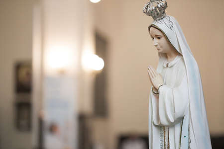 Mother Mary pray. Blessed virgin statue. Praying Virgin Mary statue. Stock Photo