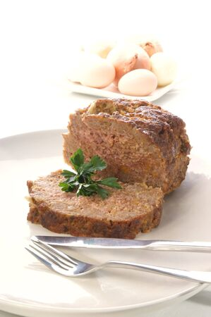 meatloaf on a white plate