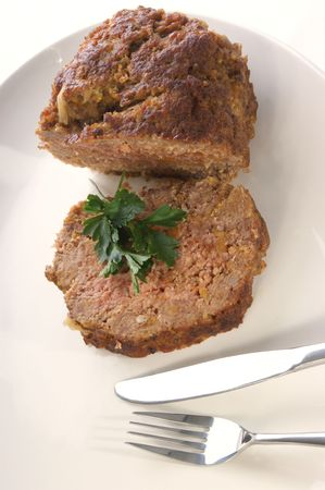 homestyle: meatloaf on a white plate