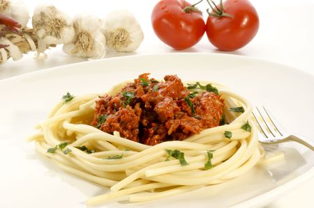 homemade spaghetti with minced meat sauce photo