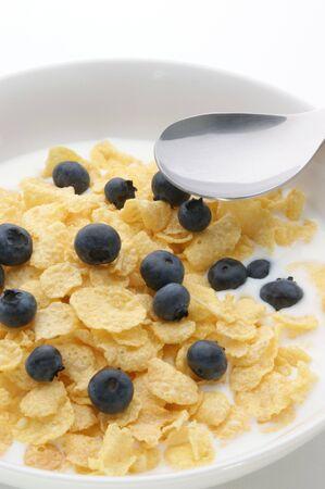 Muesli with milk and blueberries photo