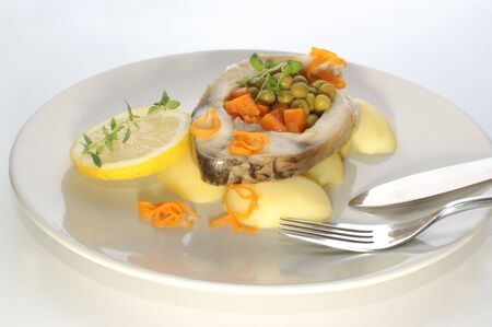 carp fillet with potato and vegetable Stock Photo - 5399448