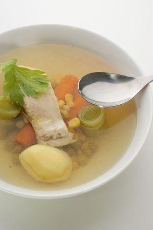 carp fish soup with fresh organic herbs