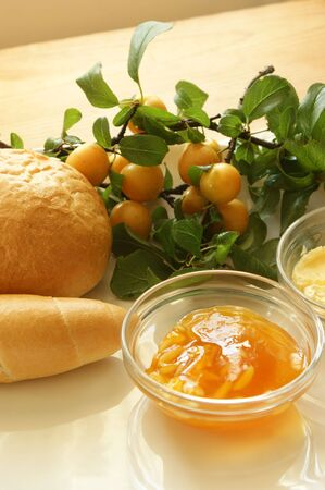 french roll: yellow plum marmelade and some french roll