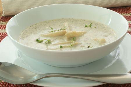 mushroom soup with organic asparagus Archivio Fotografico