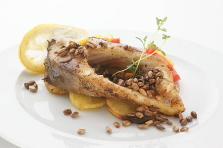 grilled carp fillet on organic potato with vegetable Stock Photo - 5484115