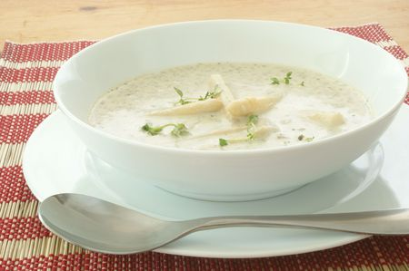mushroom soup with organic asparagus in a bowl Stock Photo - 5484129