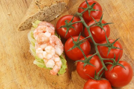 home baked bread with fresh organic prawns Stock Photo - 5813542