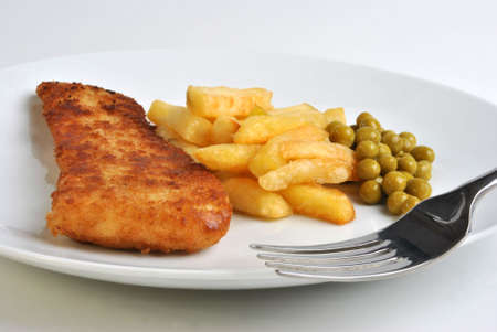 fine fish: fish and chips with some organic pea