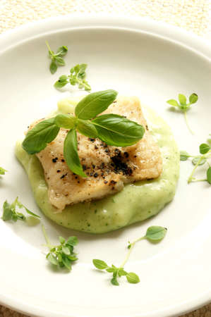 sea bream: greek sea bream fillet with mashed potatoes and basil