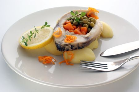 grilled carp fillet with organic vegetable on a plate Stock Photo - 5905547