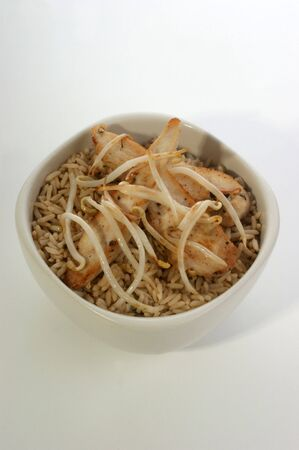 beansprouts: organic beansprouts with rice and chicken in a bowl