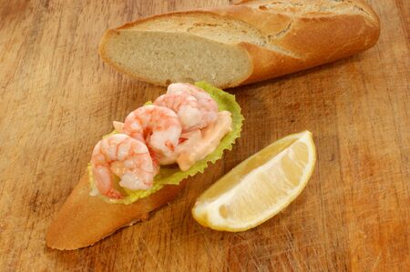 home baked bread with fresh organic prawns Stock Photo - 5922332