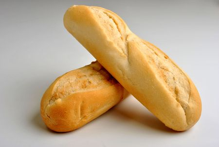 fresh baked bread roll on a bright background