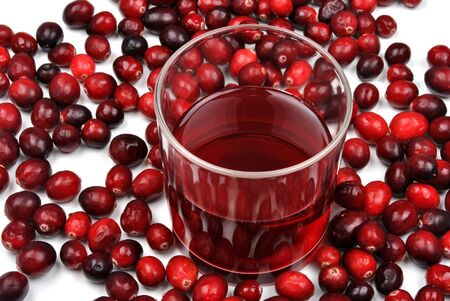 sweet organic cranberries and juice in a glass Archivio Fotografico