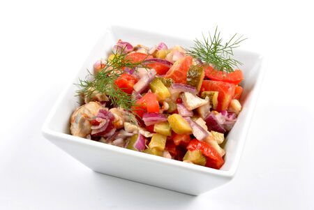 some fresh organic herring salad  in a bowl Stock Photo