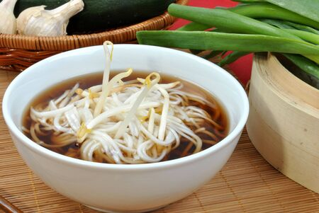 japanese style noodle soup with bean sprouts photo