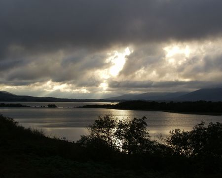 lough: sunset at lough conn county mayo ireland