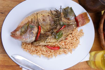 grilled tilapia with spices ready to eat Stock Photo - 6588210