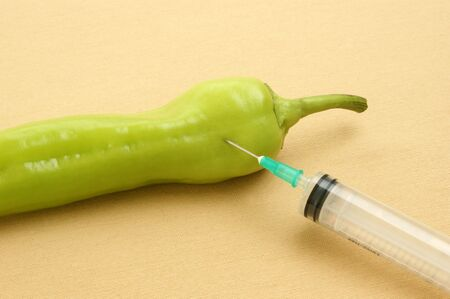 sprayed: injected vegetable to keep them longer fresh Stock Photo
