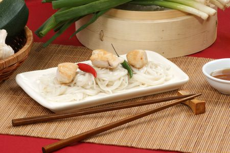 asian style noodle and chicken on a plate Stock Photo - 6865464
