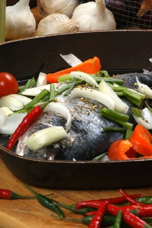 sea bream: organic sea bream from greece with vegetable