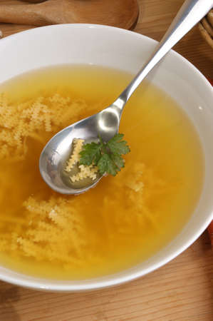 chicken soup: some chicken soup with home made noodle Stock Photo